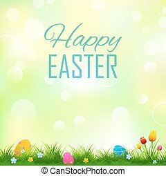 färgrik, dekorerat, påsk eggar, in, gräs