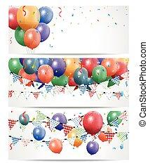färgrik, födelsedag, balloon, vita