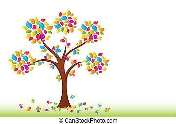färgrik, fjäder, träd