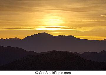färgrik, fjäll, solnedgång
