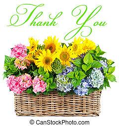 färgrik, flowers., tacka, you., kort, begrepp