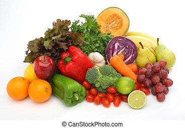 färgrik, frisk, grupp, av, grönsaken, och, frukter