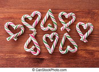 färgrik, godis piskar, för, jul