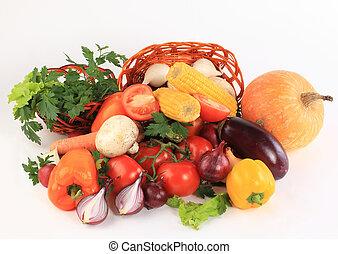 färgrik, grönsak, ram