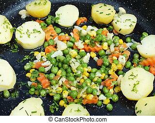 färgrik, grönsaken, med, frisk, potatisarna, in, a, panorera