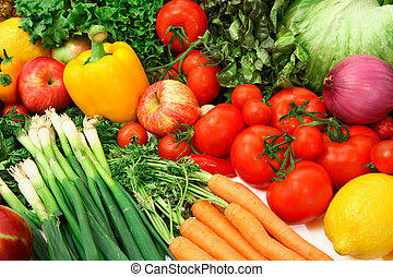 färgrik, grönsaken, och, frukter