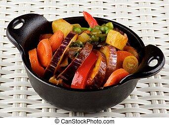 färgrik, grönsaken, ragu