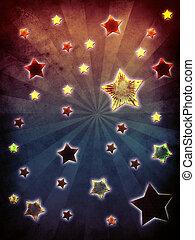 färgrik, grunge, stjärnor, bakgrund