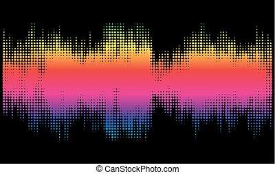 färgrik, halftone, sammandrag formge, bakgrund, in, den, bilda, av, wave.