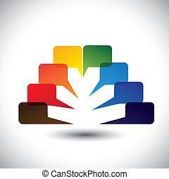 färgrik, ikonen, abstrakt, vektor, anförande, pratstund, bubblar, eller