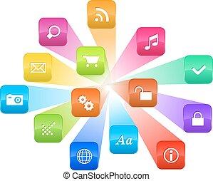 färgrik, ikonen, program, concept:, moln, mjukvara