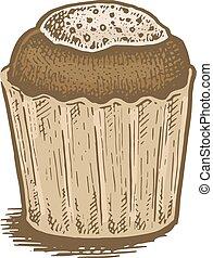 färgrik, illustration, hand, vektor, tårta, oavgjord, choklad