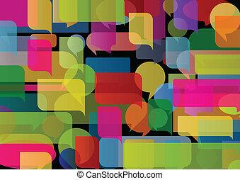 färgrik, illustration, vektor, anförande, bakgrund, bubblar, sväller, moln