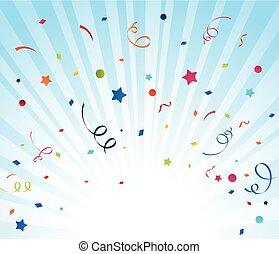 färgrik, konfetti, på, blåttbakgrund
