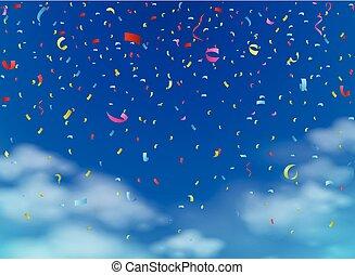 färgrik, konfetti, på, sky