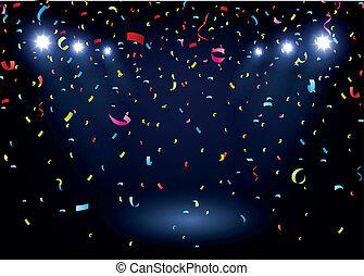 färgrik, konfetti, på, svart