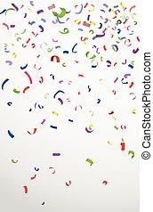 färgrik, konfetti, vita