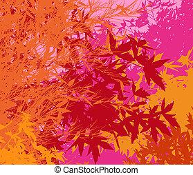färgrik, landskap, av, lövverk, -, vektor, pop,...