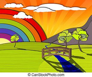 färgrik, landskap
