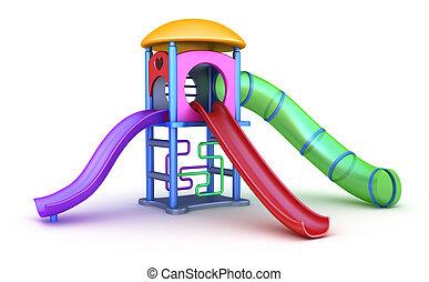 färgrik, lekplatsen, för, childrens.