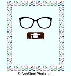 färgrik, mönster, ram, seamless, vektor, bakgrund, glasögon