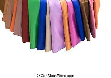 färgrik, material, av, silke, eller, satäng, tyg, isolated.