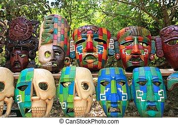 färgrik, mayan, masker, kultur, indisk, djungel