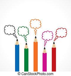färgrik, meddelande, bubbla, med, blyertspenna