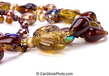 färgrik, pärlhalsband, halsband