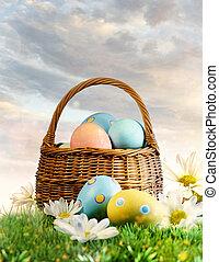 färgrik, påsk eggar, dekorerat, med, blomningen, in, den, gräs