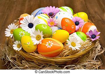 färgrik, påsk eggar, in, a, korg