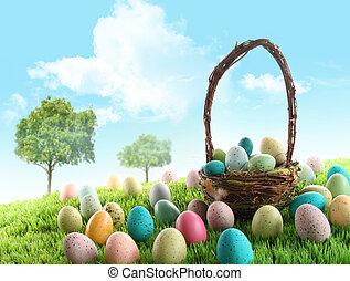 färgrik, påsk eggar, in, fält, av, gräs
