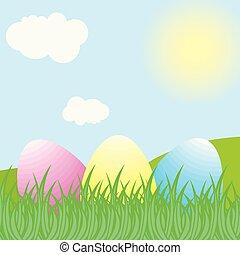 färgrik, påsk eggar, in, gräs