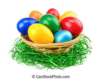 färgrik, påsk eggar, isolering