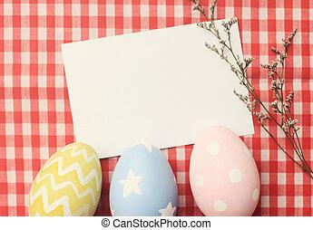 färgrik, påsk eggar, och, tom, anteckning tidning, med, retro, filtrera, effe