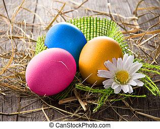 färgrik, påsk eggar
