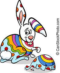 färgrik, påsk kanin, illustration, tecknad film