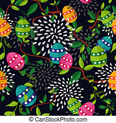färgrik, påsk, mönster, ägg