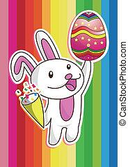 färgrik, påsk, med, kanin, och, ägg