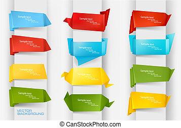 färgrik, papper, sätta, origami, jättestor