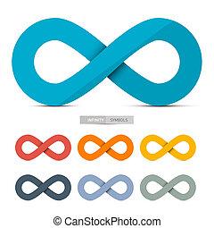 färgrik, papper, vektor, oändlighet, symboler, sätta,...