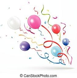 färgrik, parti, konfetti, med, balloon, vita, bakgrund