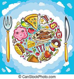 färgrik, planet, av, söt, mat