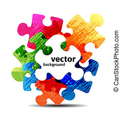 färgrik, problem, form, vektor, design, abstrakt