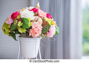 färgrik, ro, blomma, in, kruka