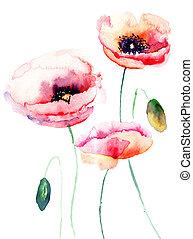 färgrik, rosa blomma