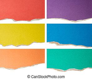 färgrik, sönderrivet, papp, kollektion