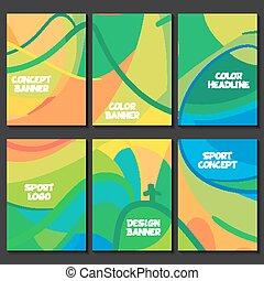 färgrik, separately, täcka, formatera, nät, mönster, mall, sida, färgad, layout., vektor, platser, design, sport, förberedelse, vågor, broschyr, abstrakt, text, banners., logo, broschyr, fodrar, baner, affisch, begrepp