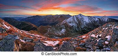färgrik soluppgång, fjäll landskap, panorama, slovakien