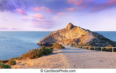 färgrik, sommar, soluppgång, på, den, sea., udde, kapchik,...